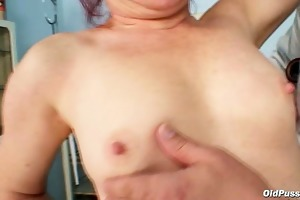 older olga has her redhead hairy vagina gyno