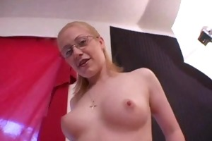 non-professional wife in glasses jerking shlong 2