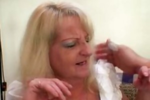 drunk golden-haired granny in sexy threesome