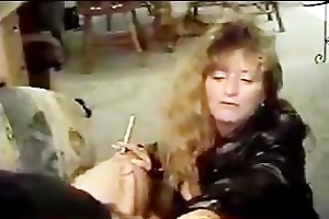 hawt older in leather smoking oral sex