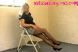 wife clothed like a doxy in nylons miniskirt and
