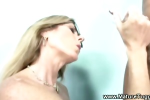 messy golden-haired d like to fuck has her hands