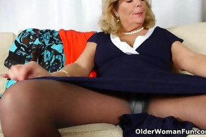 grandmas night out begins with solo sex