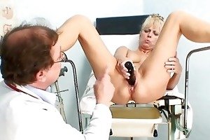 sexy aged blond lady receives her love tunnel