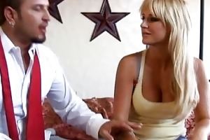 hot golden-haired wife with large melons getting