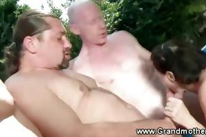 freaky granny receives double the pleasure