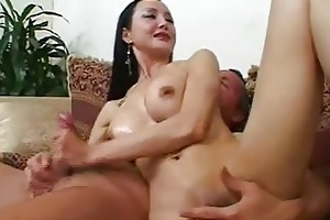 aged oriental hottie with worthwhile breast gives