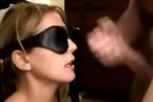 hot blindfolded wife receives her face jizzed