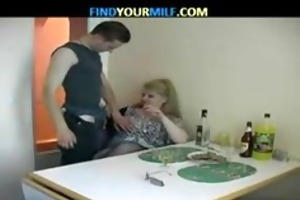 big beautiful woman drunk mature and youthful lad