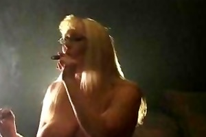 aged golden-haired smokin cigars and riding sybian