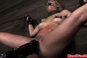 golden-haired nipple clamped sadomasochism sub
