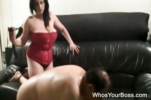 older stud getting tortured by a breasty femdom
