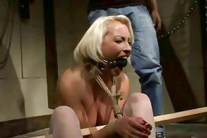older golden-haired receives bondaged and punished