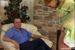 older chap enjoys sex with young cutie
