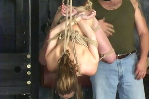 golden-haired is restrained by slaver len in