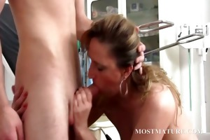 golden-haired mom takes dong in throat and wet