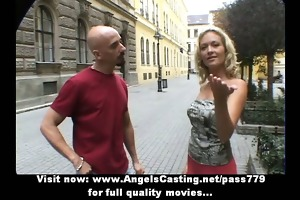 sporty blond fascinating talking with big chap in