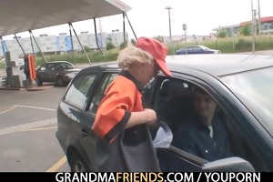 golden-haired granny has some outdoors