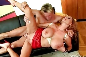 enormous chested redhead momma in heels receives