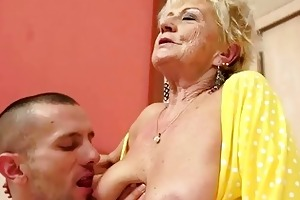 breasty granny acquires her unshaved bawdy cleft