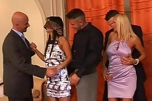 hot milfs receive groped at swingers party