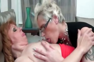 concupiscent lesbo with glasses is engulfing part2