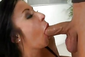 tattooed black haired momma does oral-stimulation