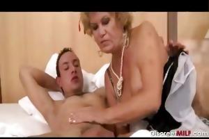 hirsute grandma wakes up youthful guy