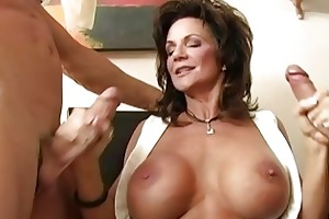 breasty brunette hair milf group-fucked by hug