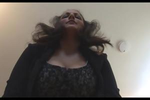breasty aged brunette hair secretary in hose