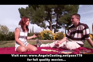 charming golden-haired legal age teenager take a